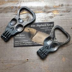 Hand sized bottle opener. #skull #ironshepherdforge #bottleopener #churchkey #blacksmith