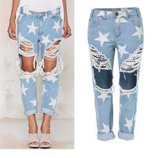fcc9660cb6992 ... Винтаж Boyfriend отверстия Рваные джинсы синего джинсового цвета белые  брюки женщина деним Для женщин карандаш Брюки для девочек купить на  AliExpress