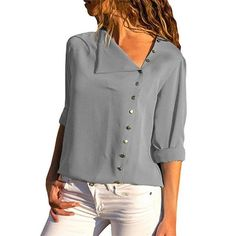 2019 Chiffon Blouse Fashion Long Sleeve Women Blouses and Tops Skew Collar Solid Office Shirt Casual Tops Blusas Chemise Femme Blouse Jaune, Blouse Verte, Casual Tops, Casual Shirts, Blouse Bleu Marine, Blouse Sexy, Vestidos Fashion, Fashion Dresses, Womens Fashion