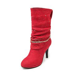 Suede Cone Heel Mid-Calf Boots Party Shoes (more colors) – CAD $ 59.54