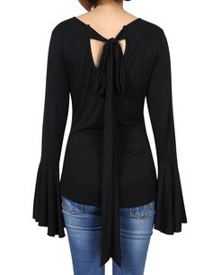 US New Fashion Autumn Women's Flared Bell Sleeve Knit Blouse T-shirt Top Sweater $7.56