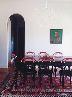 Kilim Rug + Painted Thonet Chairs