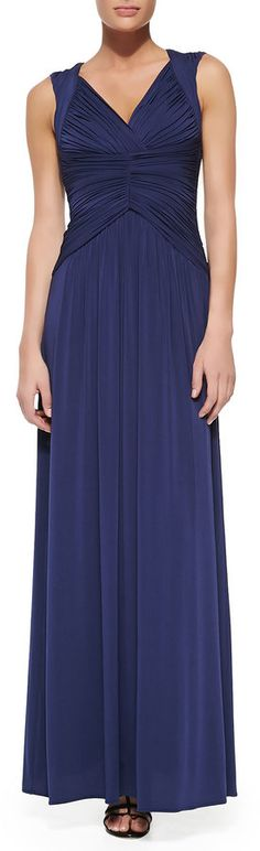 BCBGMAXAZRIA Sophia Jersey Ruched & Pleated Sleeveless Gown on shopstyle.com
