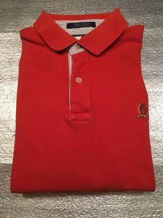 Vintage TOMMY HILFIGER  Golf Polo Shirt with Crest - Orangey Red - Size XL  | eBay