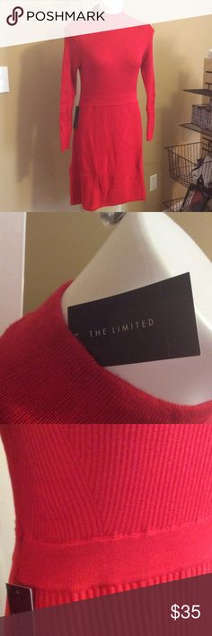 The Limited Neck Sweater dress Selling a new with tags from The Limited dress. High neck sweater dress. Really pretty. Fits over the knee. ( knees show). Didn't work for me but maybe it would look great on you.😀 The Limited Dresses Mini