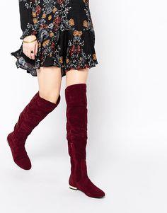 Immagine 1 di Daisy Street - Stivali sopra il ginocchio piatti bordeaux
