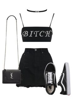 """""""Untitled #1580"""" by elinaxblack ❤ liked on Polyvore featuring Vans and Yves Saint Laurent"""