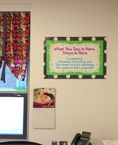 What You Say in Here Stays in Here sign. Print it for your own counseling office! Creative Elementary School Counselor