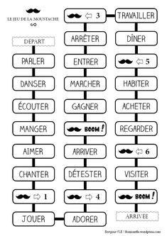 To Learn French Spanish Class French Videos For Kids Spanish French Tenses, French Verbs, French Grammar, French Teaching Resources, Teaching French, How To Speak French, Learn French, Verb Games, French Numbers
