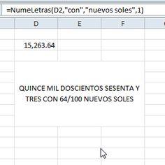 Fórmula Números a letras mas moneda de tu país en Excel