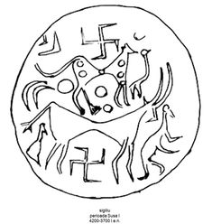 Un sigiliu aparținând perioadei Susa I (4200-3700 î.e.n.) prezintă un grup de animale – o bovină, o felină cu picioarele lungi și un câine; o pereche de svastici încadrează grupul animalelor, una plasată deasupra felinei iar cealaltă sub abdomenul bovinei. Susa, Fallout Vault, Fictional Characters, Art, Art Background, Kunst, Performing Arts, Fantasy Characters, Art Education Resources