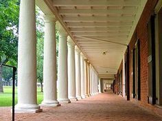 Walking along the lawn rooms on the way to class