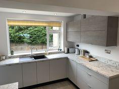 Modern Kitchen Cupboards, Handleless Kitchen, Bar Seating, Milton Keynes, Kitchen Design, Living Spaces, Kitchens, Bright, Contemporary