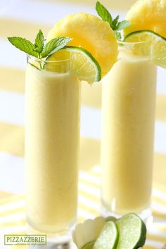 Luscious Frozen Pineapple Coolers // chilled pineapple chunks, ice, lime juice, coconut milk, rum [optional] via Pizzazzerie #cocktails #summer