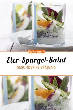 Gesunder Feierabend: Eier-Spargel-Salat mit Joghurtdressing - kalorienarm - einfaches Gericht - So gesund ist das Rezept: 9,5/10 | Eine Rezeptidee von EAT SMARTER | Frühlingssalate, Spargelsalat, Sommer, Rezepte im Glas, Salat im Glas, Vorspeisen im Glas, für 2 Personen, Kochen, Eier, Ei im Glas, Gemüse, Blattgemüse, Sprossgemüse, Milchprodukte, Salat, frischer Salat, Leichte Salate, Gemüsesalat, Brunch, Herzhaftes Frühstück, Mittagessen, Abendessen, Vorspeise #eiersalat #gesunderezepte Eat Smarter, Fresh Rolls, Baguette, Buffet, Ethnic Recipes, Asparagus Salad, Catering Display, Lunch Buffet