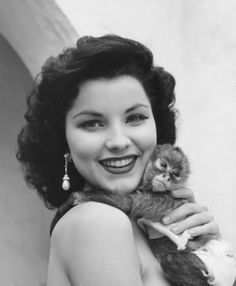 Debra Paget and a little friend - c. 1950's