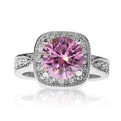 Size 8, Gorgeous Pink Stone, Rhodium Plated, $14.95
