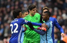 Kelechi Iheanacho  and Willian square off while Thibaut Courtois tries to separate them in ugly scenes at the end of the match