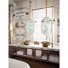 Banheiro Mármore e Dourado Maddux Creative The World of Interiors Maio 2014