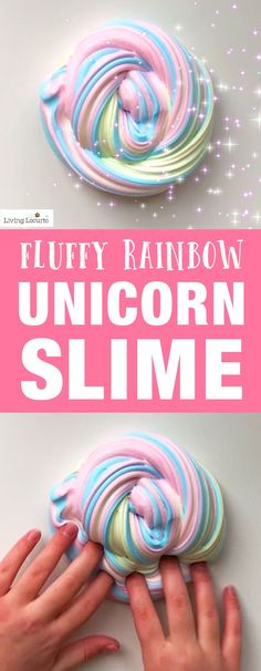 How to make Rainbow Unicorn Slime in only 5 minutes! An easy tutorial and recipe for homemade fluffy slime. A fun kids craft activity. LivingLocurto.com