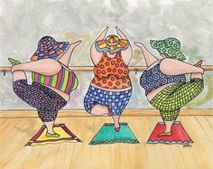 """Girls' New Years Resolution is an original design by Carolyn Stich. """"Les filles"""" are a series of etchings that Carolyn produced with girlfriends on various outings and adventures. Carolyn is known for her witty puns and colorful artwork that Illustrations Poster, Illustration Art, Plus Size Art, Fat Art, Art Impressions, Colorful Artwork, Rug Hooking Patterns, Fat Women, Nouvel An"""