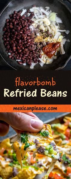 This is the easiest way to make a killer batch of refried beans. You can use these beans to make all sorts of on-the-fly meals. Vegan Refried Beans, Refried Bean Dip, Best Refried Beans Recipe, Mexican Refried Beans, Mexican Food Recipes, Vegetarian Recipes, Cooking Recipes, Healthy Recipes, Cooking Ideas