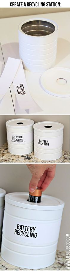 create a recycling station for batteries and other items