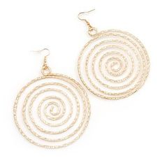 Oversized Hammered Spiral Hoop Earrings In Gold Plating - 10cm Length/ 7.5cm Diameter Avalaya. $11.70. Fastening: fold-over clasp. Metal Finish: gold plated. Wear On: ear. Occasion: anniversary, party, club night out, christmas. Type: hammered. Save 32%!