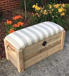 Fabric storage Chest - Hope chest Toy box Entryway bench Storage bench Storage chest 34 The Pioneer. Storage Bench Seating, Entryway Bench Storage, Bench With Storage, Wood Storage, Storage Chest, Fabric Storage, Storage Ideas, Entryway Ideas, Storage Boxes
