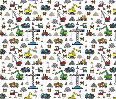 Construction pattern fabric by vectorific_design on Spoonflower - custom fabric