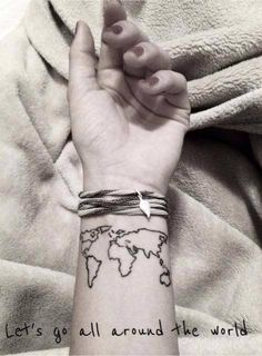 Map of the World Wrist Tattoo