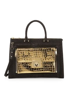 Milly Sienna Python & Croc-Embossed Two-In-One Tote Çanta - Black / Gold #milly