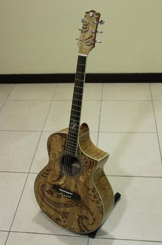 Maori Patterned Guitar by Ashley Foo
