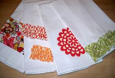 embellished dish towels...great gift idea! Could make these, some pot holders and package them with dish cloths. Love it!