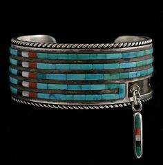 Cuff | Jimmie and Reyna King. (Zuni) Sterling silver inlaid with multi-Stone Cornrow. circa 1970 Navajo Jewelry, Southwest Jewelry, Old Jewelry, Turquoise Jewelry, Indian Jewelry, Jewelry Art, Sterling Silver Jewelry, Fashion Jewelry, Native American Jewellery
