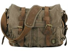 #Military #Leather Messenger Bag #Canvas