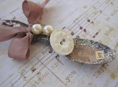 Primitive Christmas Ornament, Mini Altered Spoon, Silver, Brown, Shabby Cottage Chic, cssteam