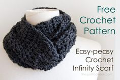 Easy-peasy crochet infinity scarf free pattern at The Spotted Hook