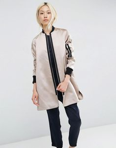 Image 1 of ASOS Trapeze Bomber Jacket in Satin Fabric