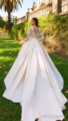 crystal design 2017 bridal long sleeves sweetheart neckline full embellishment lace glamorous a line wedding dress sheer back royal train (ohara) bv
