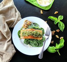 Walnut Pesto Salmon is heart smart. Salmon, walnuts, basil, and olive oil pack cholesterol cutters and antioxidants into one delicious dish in 30 minutes.