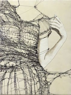 "Andrea Benson: ""Unravelling 2"" As far as I can tell from her website, this is a drawing on wood panel. However, I have gone back to this image over and over again with the idea of creating imagery with those being actual threads."