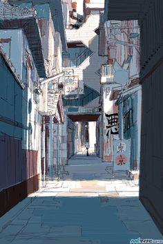 Visual Development for Big Hero 6 by japanese illustrator and Coraline concept artist: Tadahiro Uesugi. (Just imagine the entire San Fransokyo in his artstyle *stars in my eyes*) Japon Illustration, Digital Illustration, Animation Background, Background Drawing, Background Ideas, Scenery Wallpaper, Visual Development, Environment Design, Anime Scenery