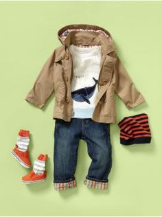 this outfit is way adorable - except for that orange stripe hat. - March 09 2019 at Toddler Boy Fashion, Little Boy Fashion, Toddler Boys, Baby Kids, Kids Fashion, Outfits Niños, Kids Outfits, Cheap Outfits, Little Boy Outfits