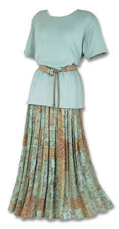 Sandstone & Aqua Skirt - Dresses & Skirts - Fashion Southwest Indian Foundation Plus Size Maxi Dresses, Modest Dresses, Modest Outfits, Boho Outfits, Modest Fashion, Skirt Fashion, Boho Fashion, Short Sleeve Dresses, Fashion Outfits