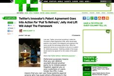 http://techcrunch.com/2013/05/21/twitters-innovators-patent-agreement-goes-into-action-for-pull-to-refresh-jelly-and-lift-will-adopt-the-framework/ ... | #Indiegogo #fundraising http://igg.me/at/tn5/