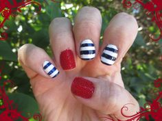 Nautical/Sailor inspired look with caviar beads over the red polish.  Tutorial on my YouTube channel ChaChaCakes