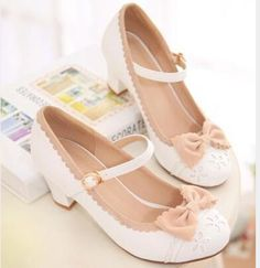 Cheap shoe ventilation, Buy Quality shoes one directly from China uniform custom Suppliers: newest 2014 women japanese uniform shoes sweet bowtie high heels cosplay pumps round toe ankle strap plarform lolita shoes Pretty Shoes, Beautiful Shoes, Cute Shoes, Me Too Shoes, Sock Shoes, Shoe Boots, Shoes Heels, White Block Heel Shoes, Mode Kawaii