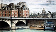Bernard Buffet - Le Pont-Neuf et le Vert-Galant - 1988 - oil on canvas - 114 x 195 cm - ©ADAGP What Is Expressionism, Paris Illustration, Illustrator, Watercolor Sketch, Detail Art, Ex Libris, French Artists, France Travel, Great Artists