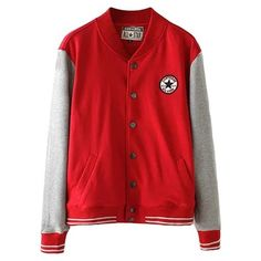 Long Sleeve Snap Button Varsity Jacket (280 NOK) ❤ liked on Polyvore featuring outerwear, jackets, coats, casacos, red, teddy jacket, snap button jacket, red jacket, college jacket and snap jacket